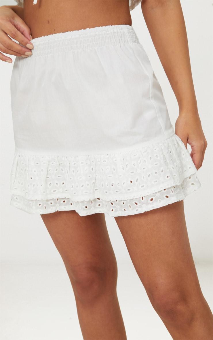 Petite White Broderie Anglaise Detail Mini Skirt 6