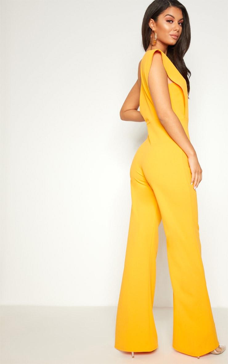 Orange Drape One Shoulder Jumpsuit 2