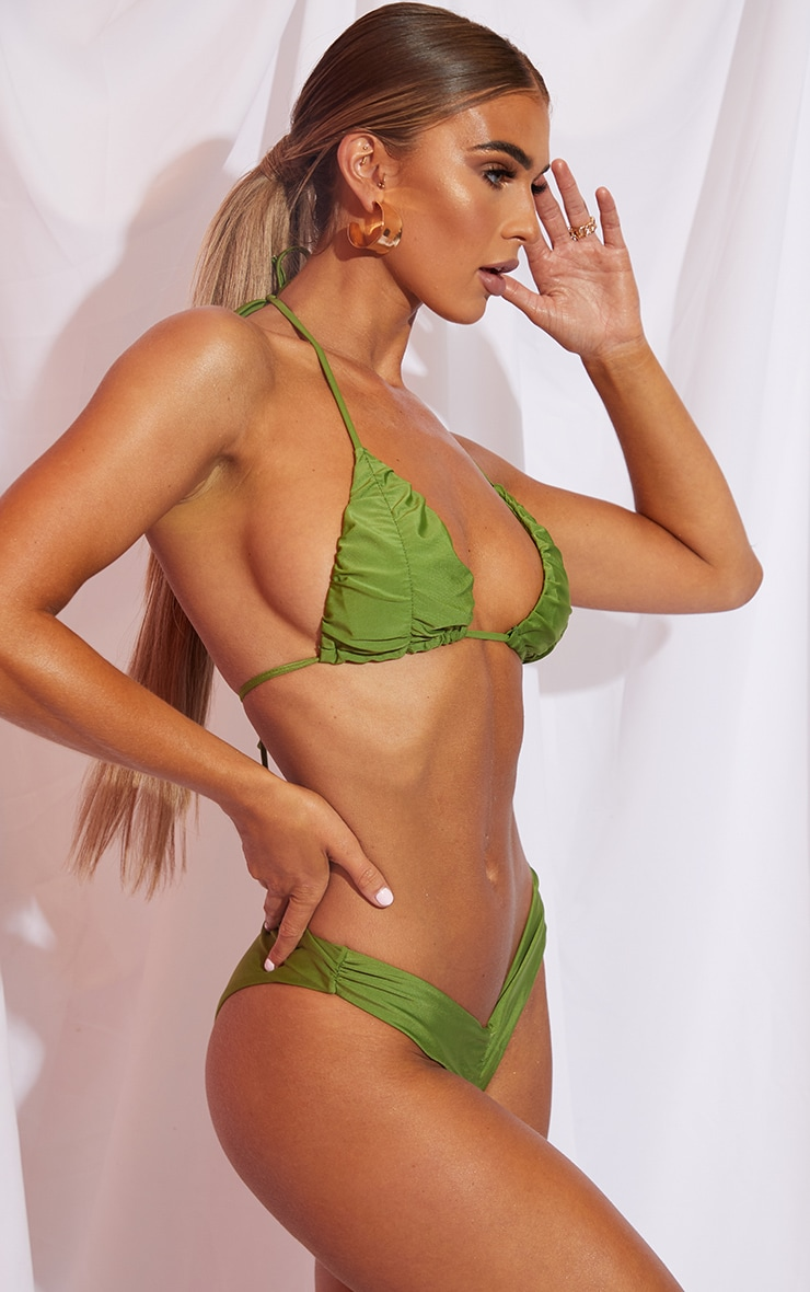 Olive Ruched Cup Padded Triangle Bikini Top 2