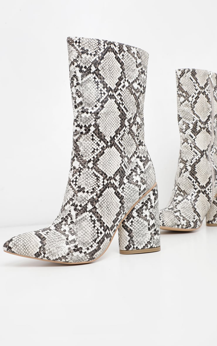 Grey Snake Chunky Block Heel Point Toe Boot 3