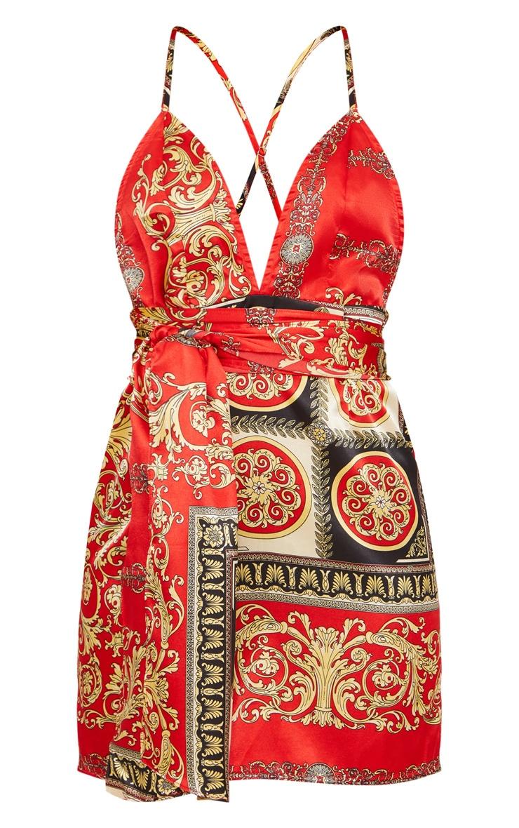 Petite Red Satin Printed Wrap Belt Detail Bodycon Dress 3