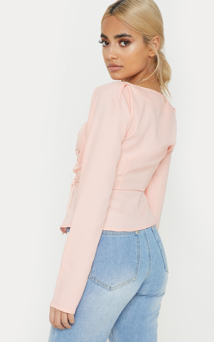 Petite Dusty Pink Long Sleeve Corset Blouse 2