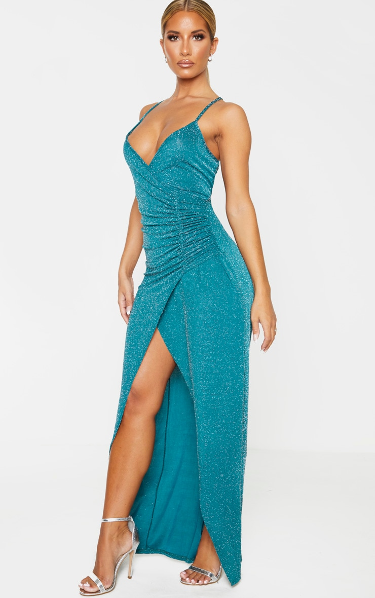 Emerald Green Plunge Ruched Split Leg Maxi Dress 4
