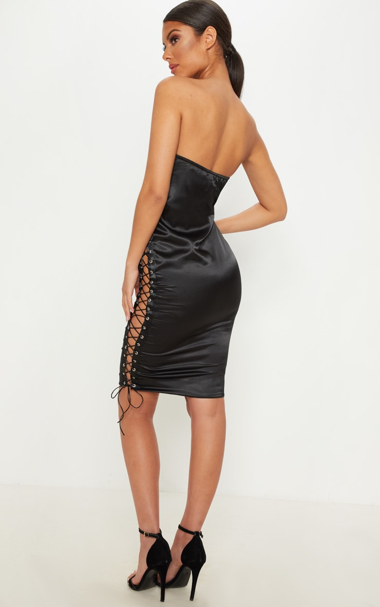Black Satin Bandeau Lace Up Bodycon Dress