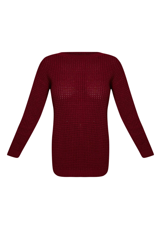 Alessandra Burgundy Oversized Knitted Jumper 3