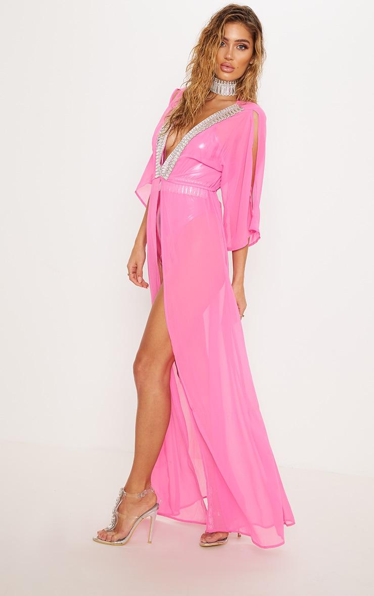 Premium Pink Jewelled Plunge Maxi Kimono 5