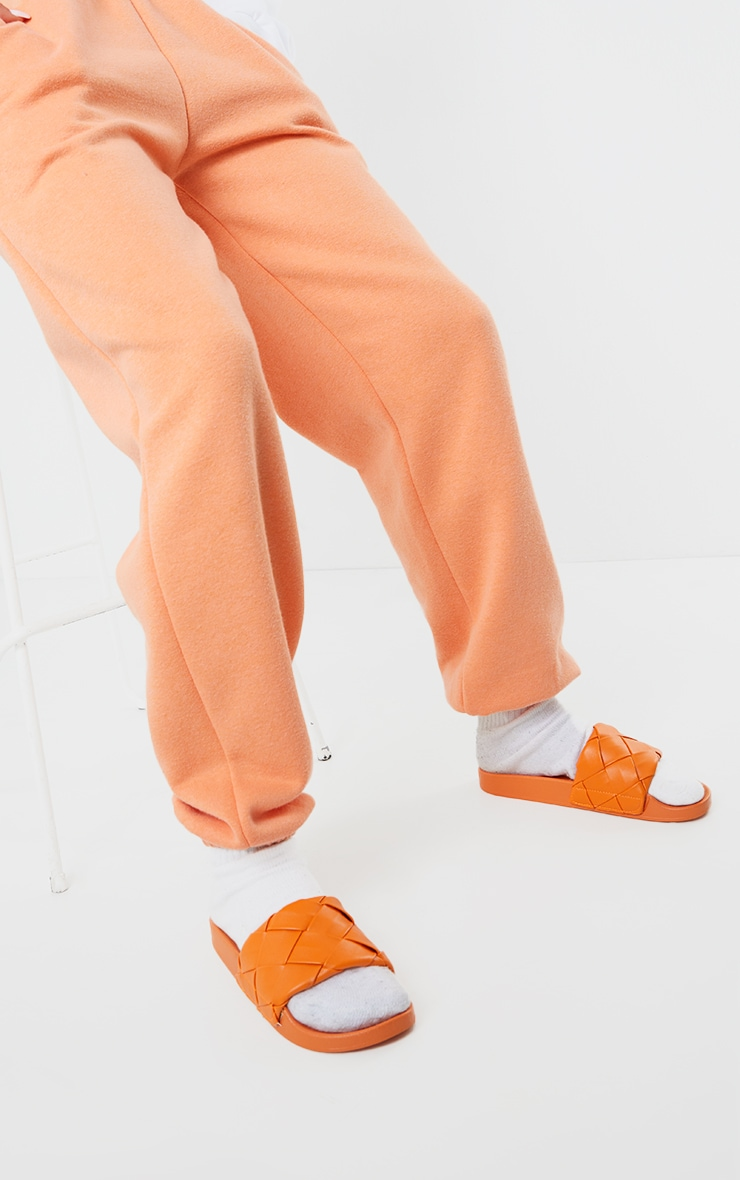 Orange Platted Woven PU Sliders 2