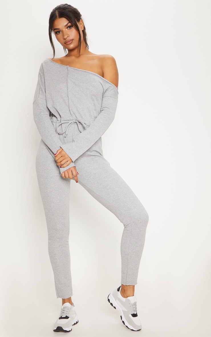 Grey Marl Loop Back Off The Shoulder Jumpsuit 1