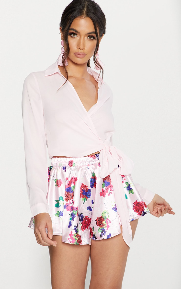 Pink Satin Floral Print Floaty Shorts 1