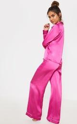 cc6a8f29e4 Fuchsia Satin Wide Leg Pyjama Set image 2