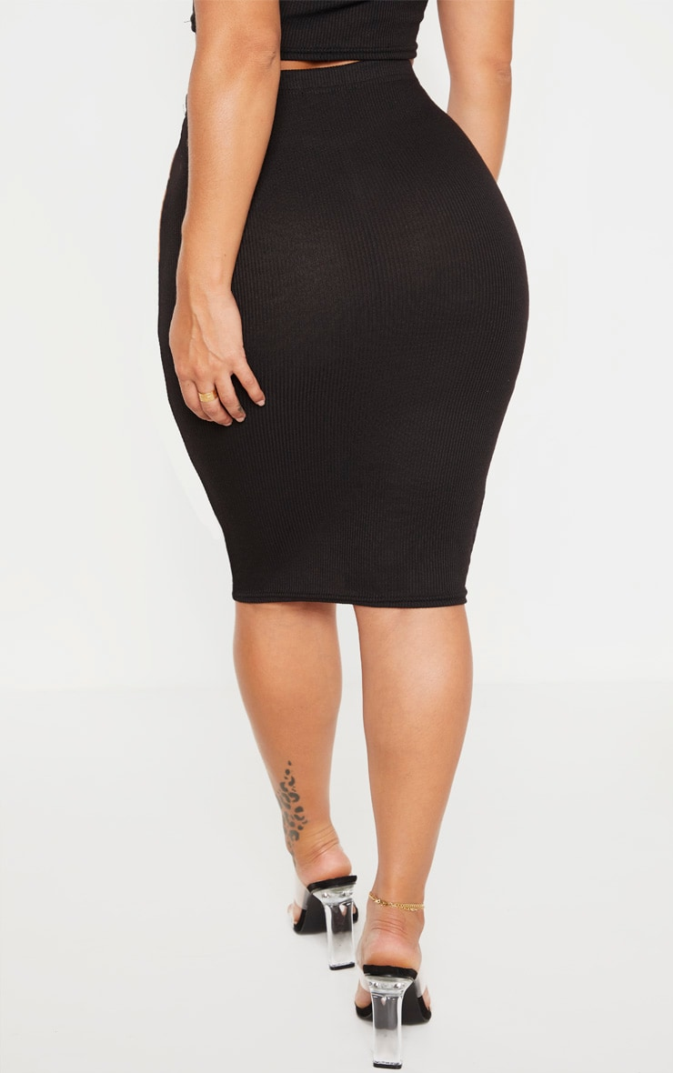 Shape Black Ribbed Basic Midi Skirt 4