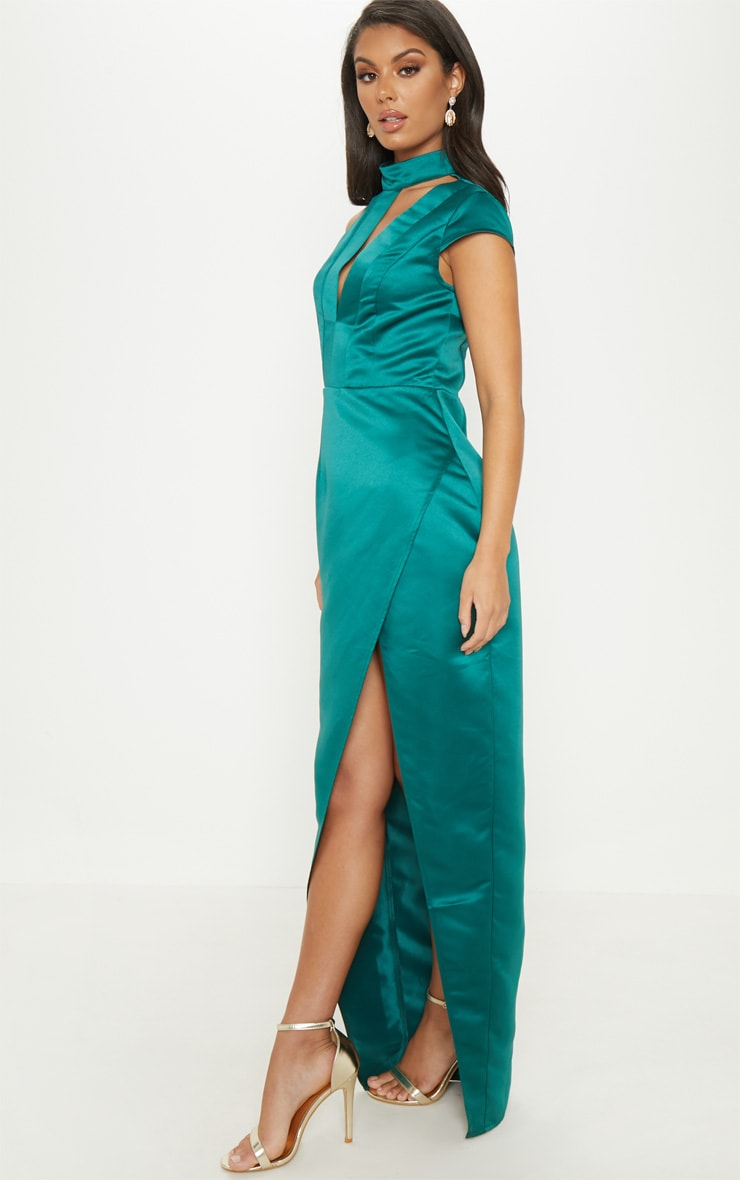 Emerald Green Satin Drape Detail Wrap Maxi Dress 4