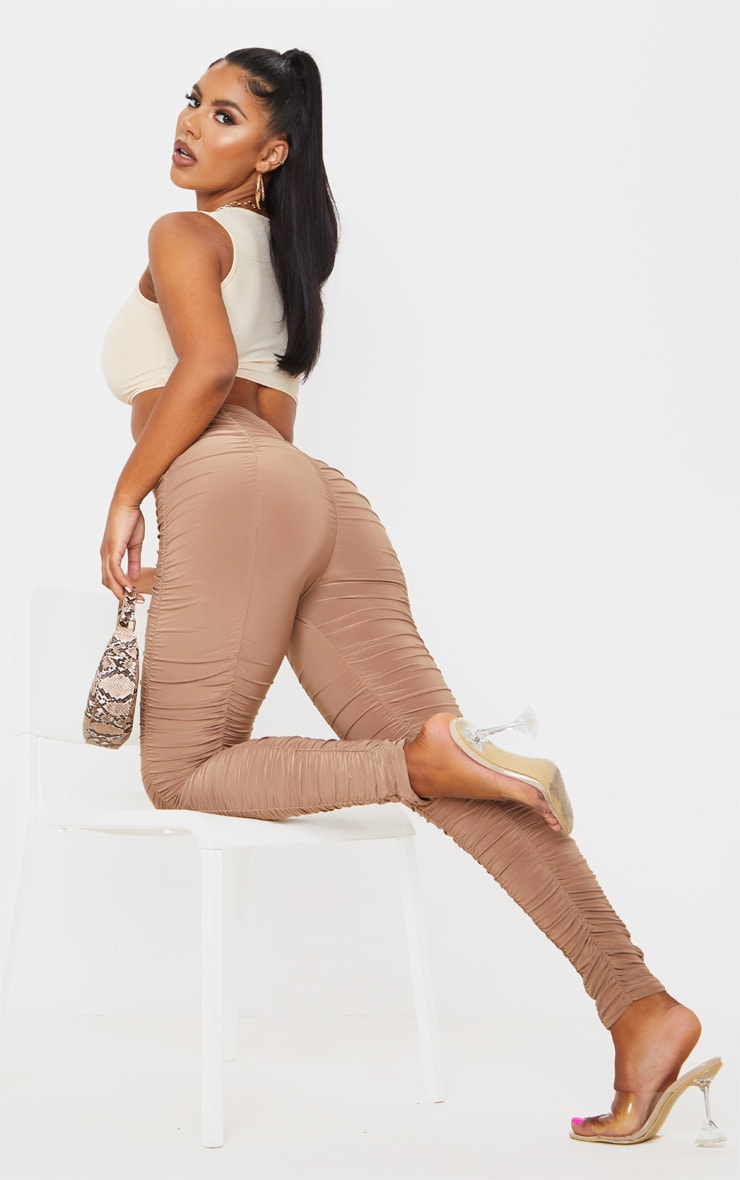 Camel Slinky Ruched Leggings 1