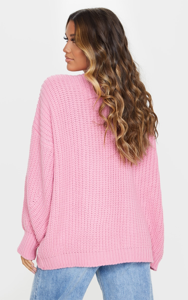 Cardigan ample à grosse maille rose 2