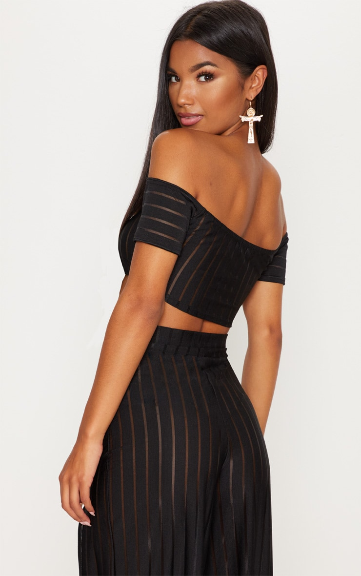 Black Mesh Stripe Bardot Crop Top 2