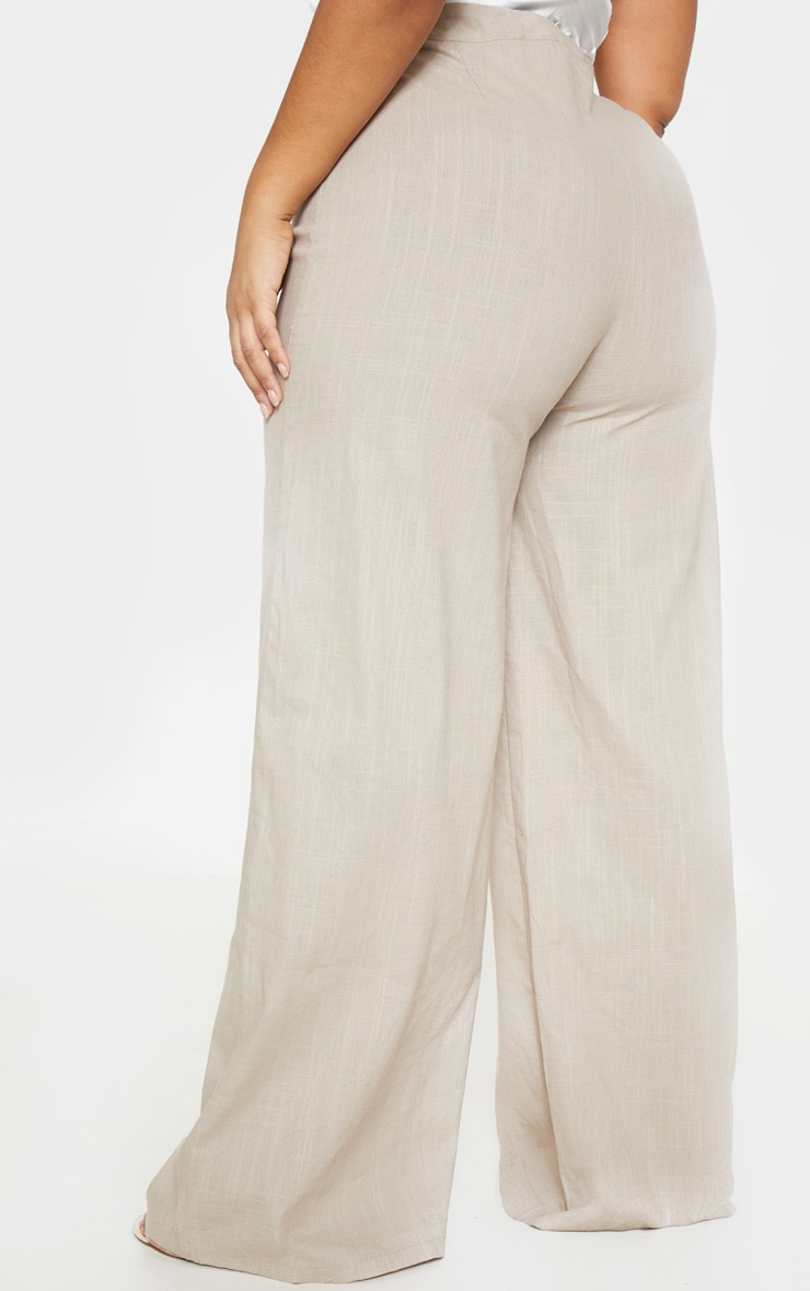 Plus Stone Woven Wide Leg Trouser 4