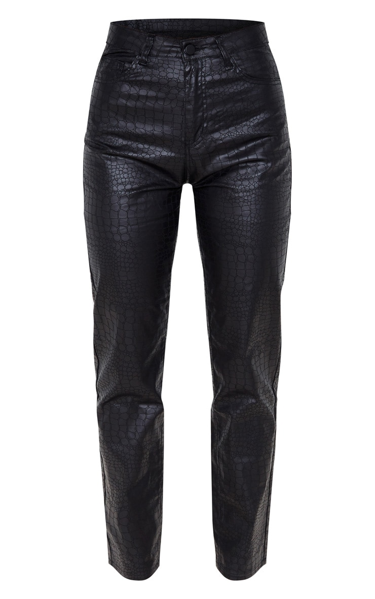 Black Coated Denim Croc Straight Leg Jean 3