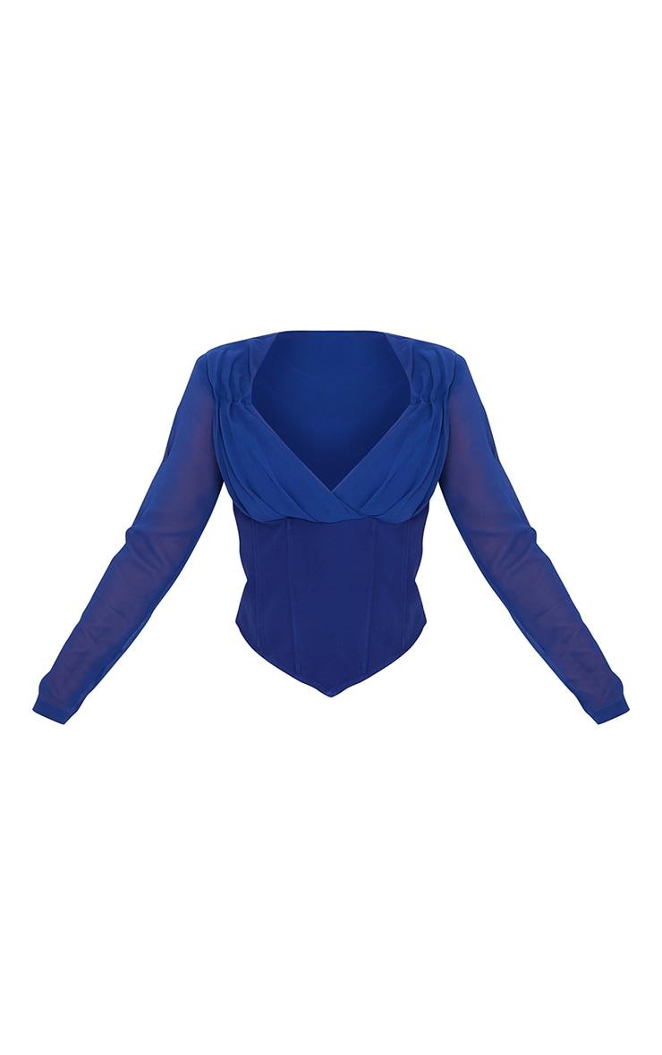 Cobalt Blue Chiffon Draped Cowl Corset Long Top 5