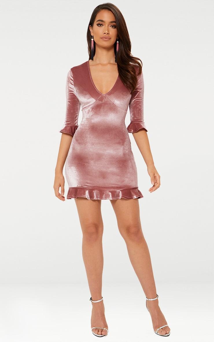 Rose Velvet Frill Hem Shift Dress 1