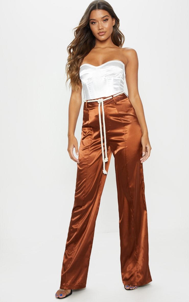 Chocolate Satin Rope Belt Wide Leg Pants 1