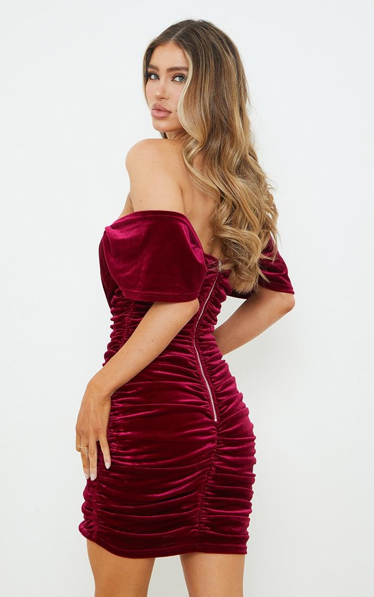 Burgundy Velvet Plunge Ruched Bardot Bodycon Dress 2