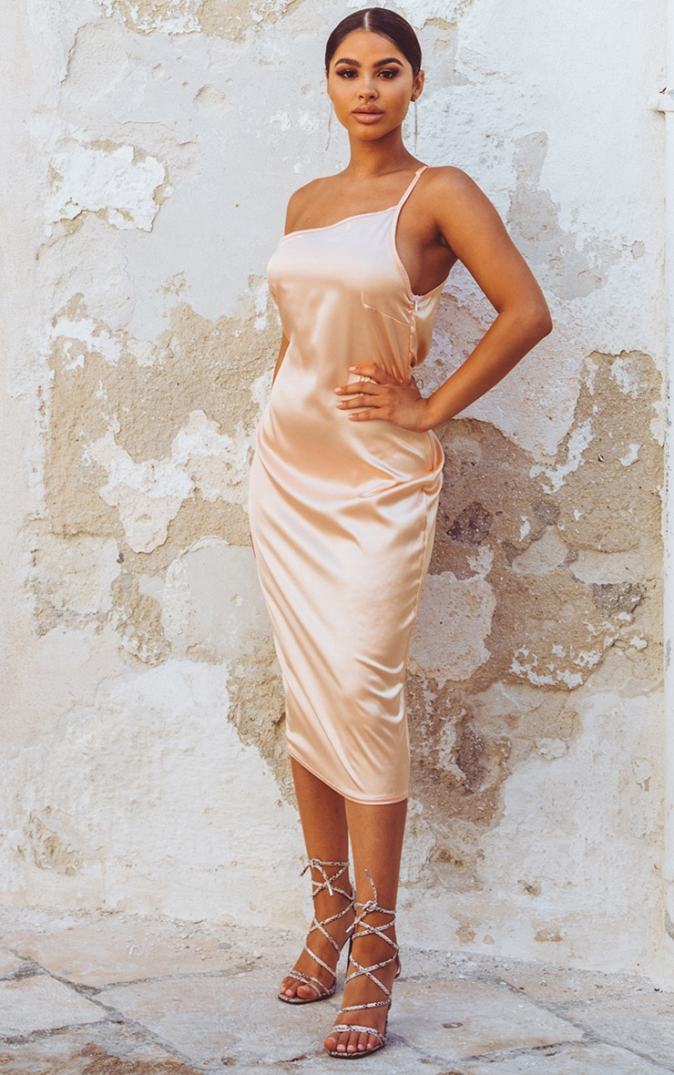 Peach Asymmetric Satin Midi Dress  1