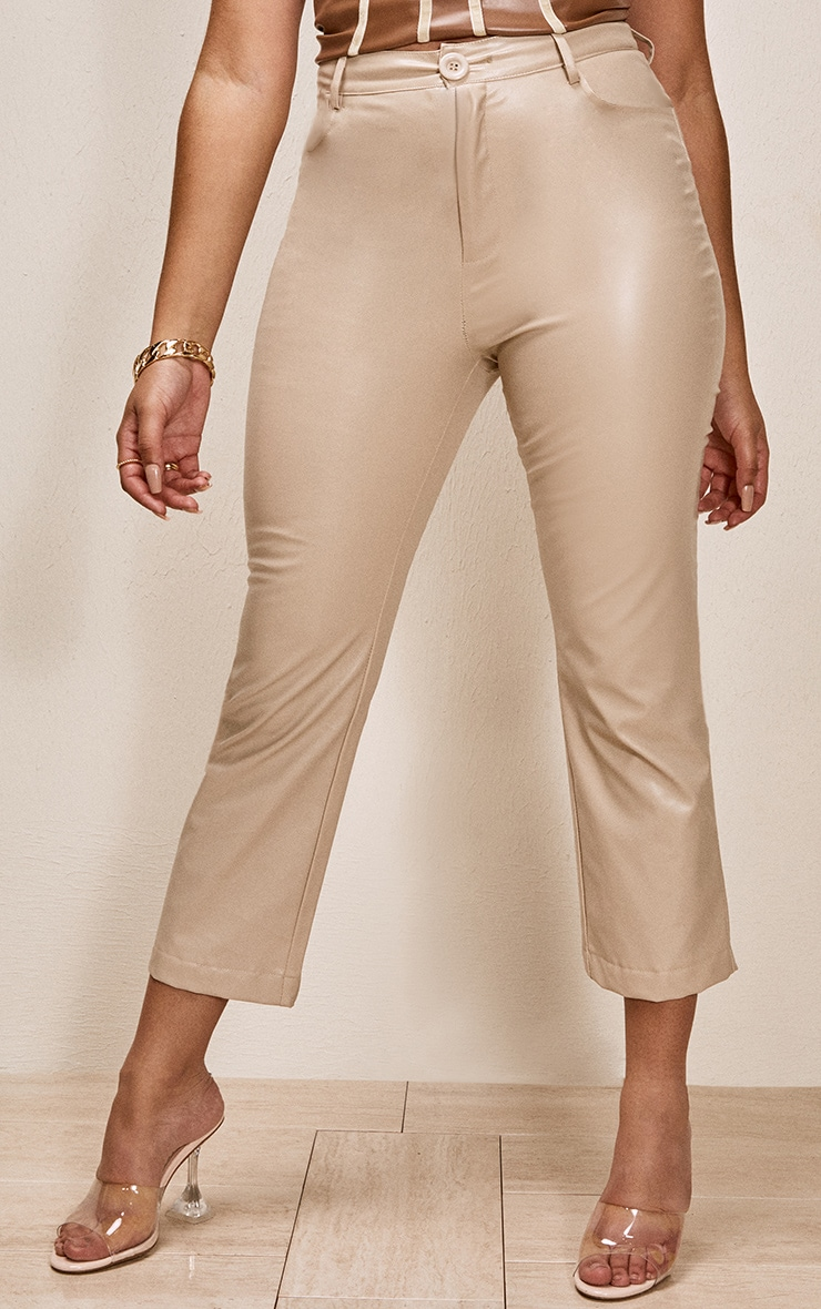 Stone Faux Leather Cropped Trouser 2