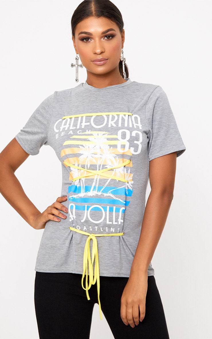 Grey Marl Slogan Print Contrast Lace Up T Shirt 1