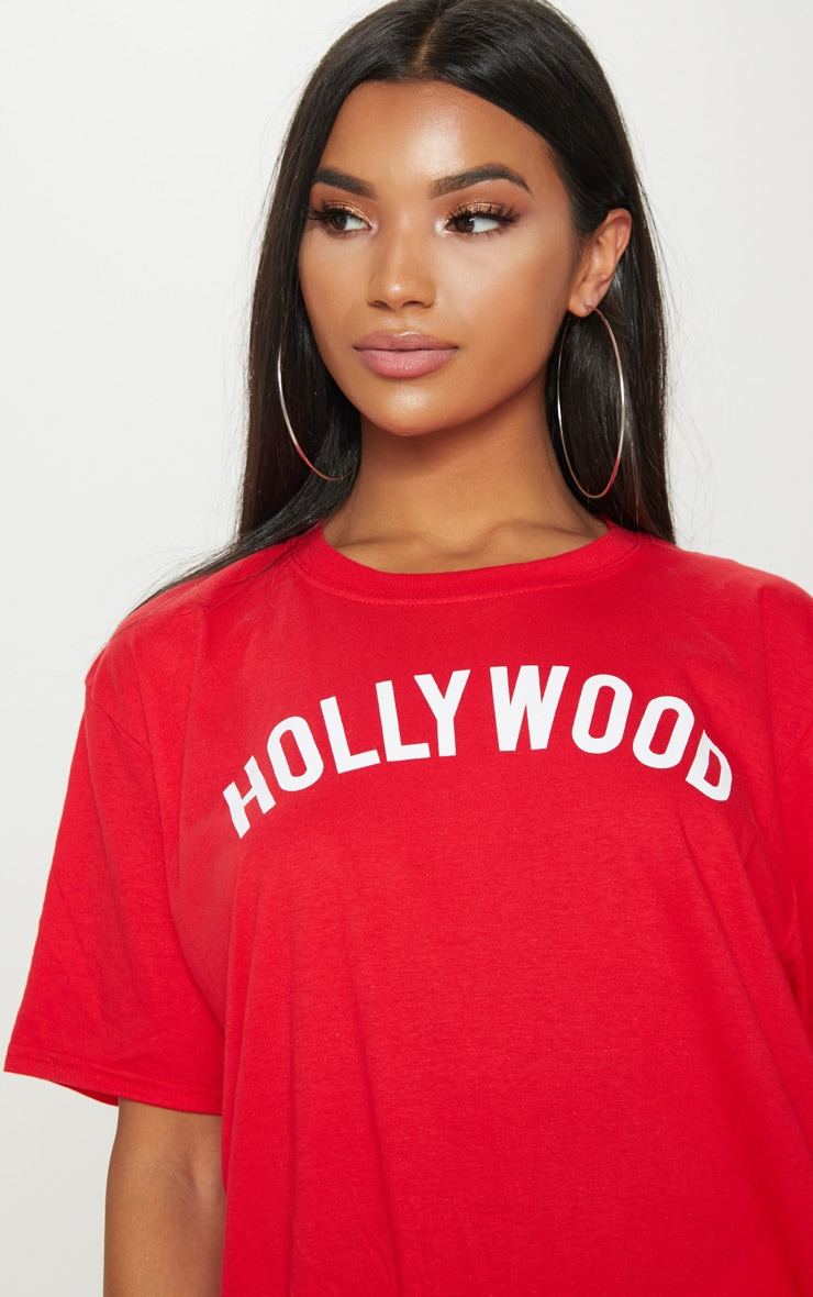 Red Hollywood Slogan Oversized T Shirt  5