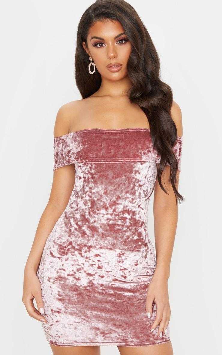 Rose Crushed Velvet Bardot Bodycon Dress 1