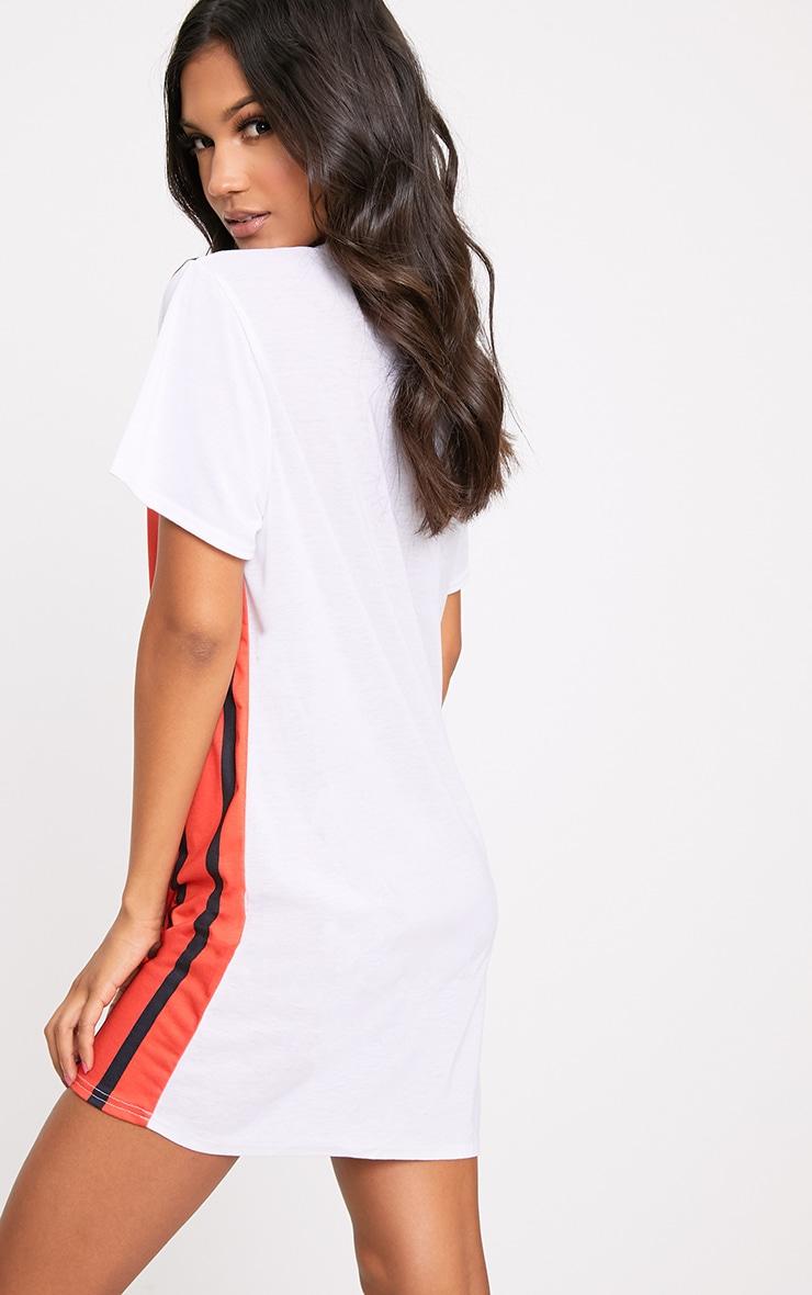 White Contrast Stripe T Shirt Dress 2