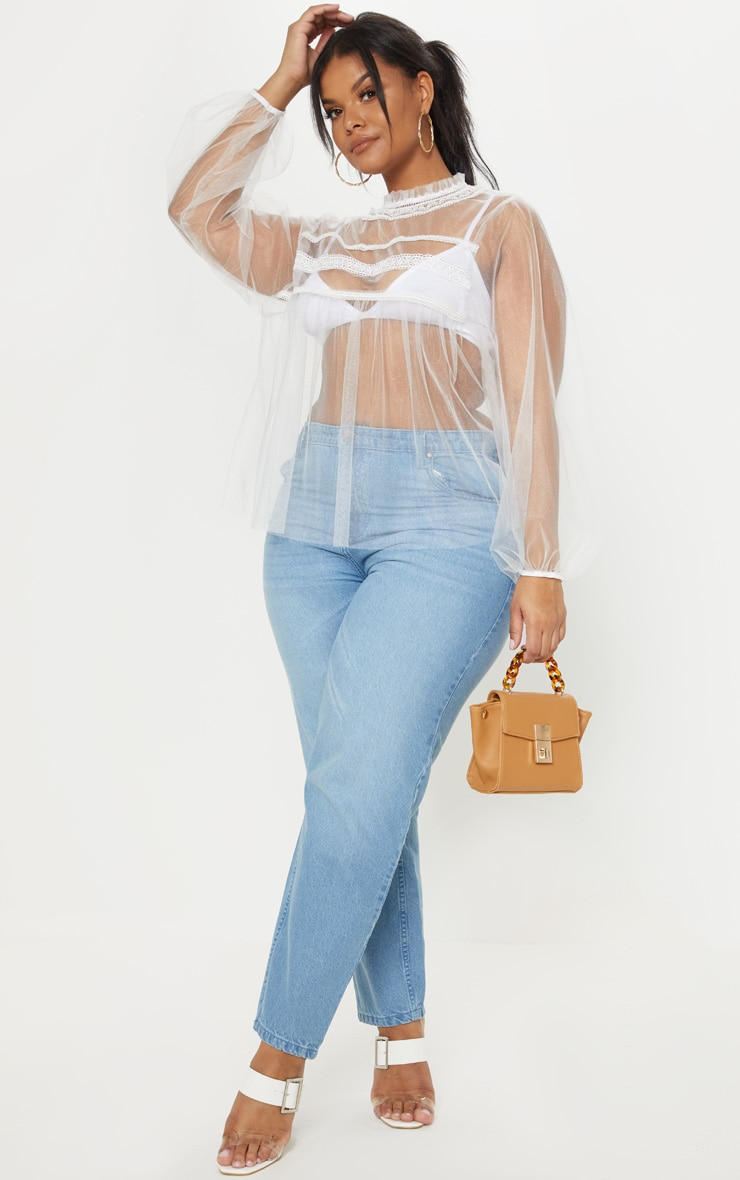 Plus White Mesh Embroidered High Neck Blouse  3