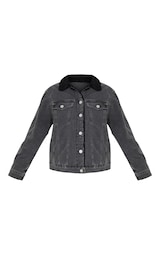 850713b211 Charcoal Faux Fur Trim Denim Jacket image 3