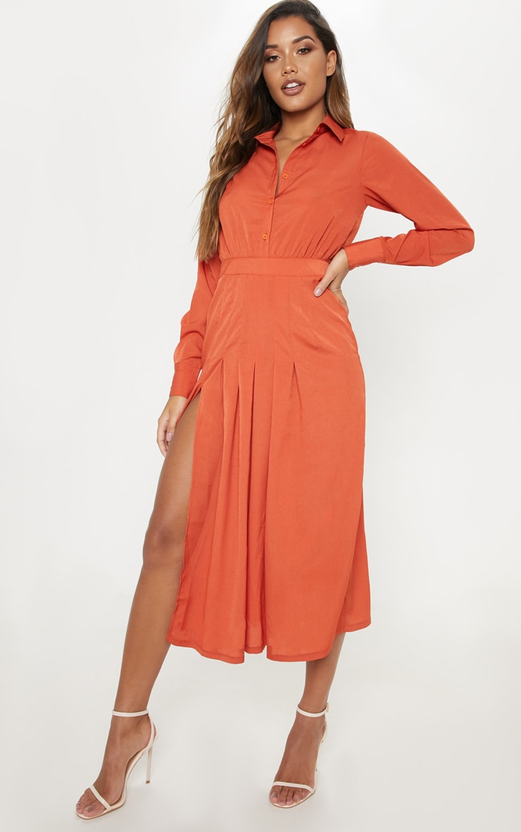 Rust Long Sleeve Midi Shirt Dress 4