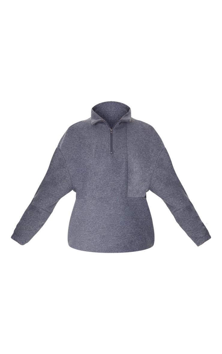 Charcoal Grey Fleece Zip Front Oversized Sweater 5