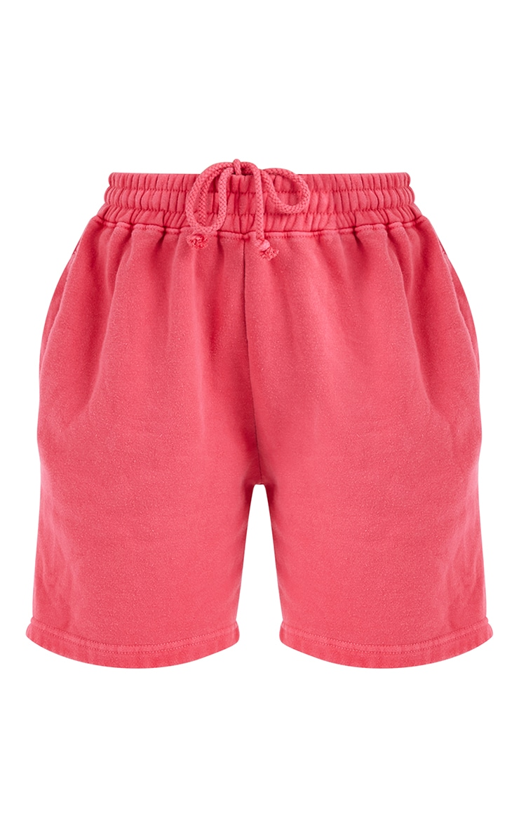 Neon Pink Washed Sweat Runner Shorts 6