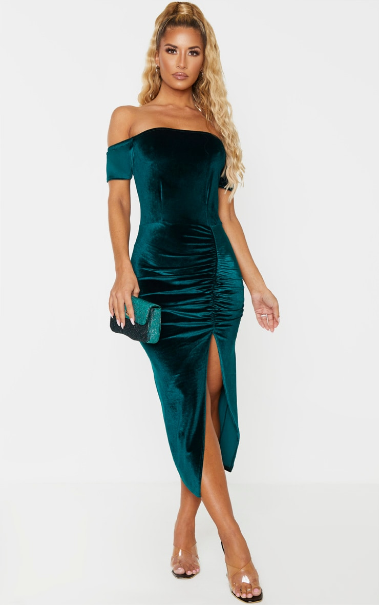 Emerald Green Velvet Bardot Ruched Skirt Midi Dress 3