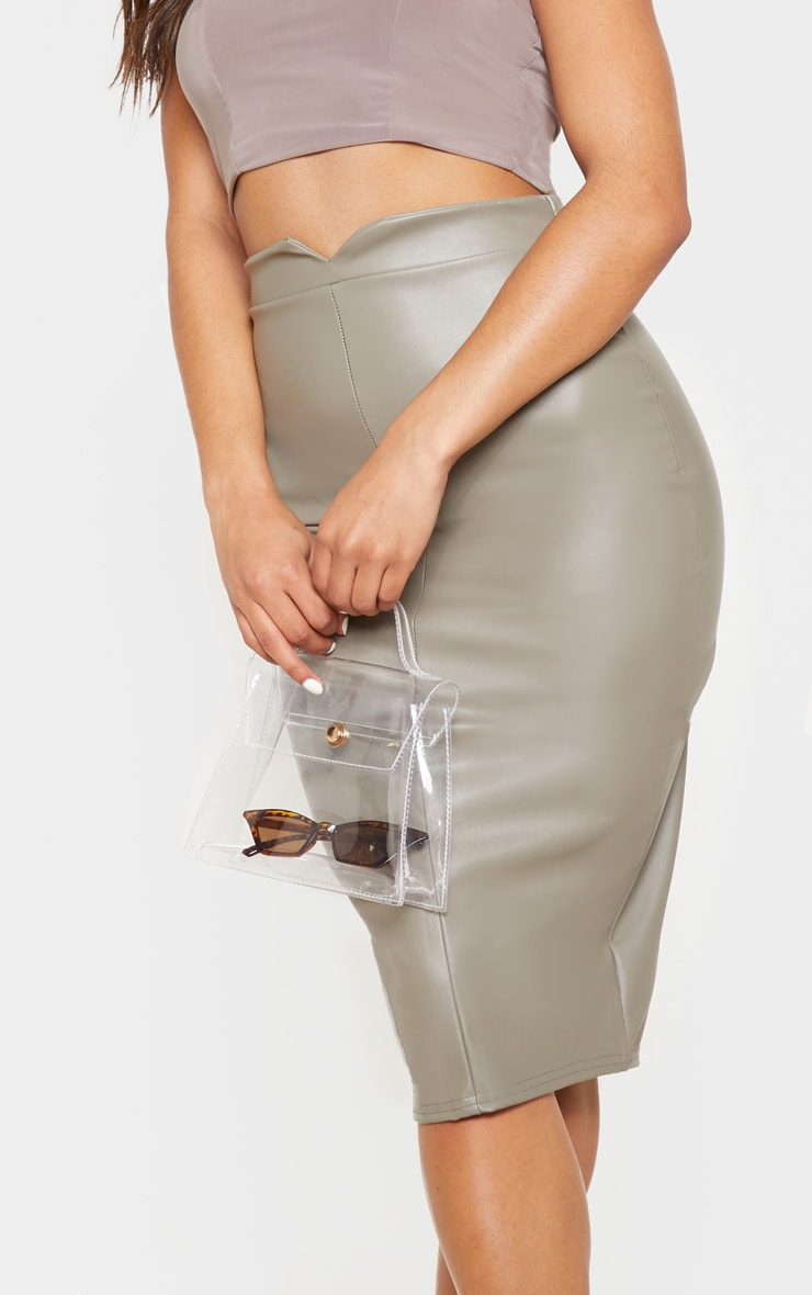 Eva Taupe Faux Leather Panel Midi Skirt 5