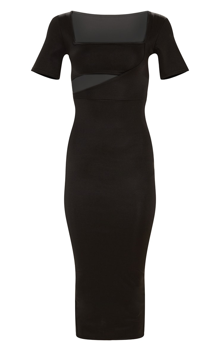 Black Second Skin Square Neck Cut Out Midaxi Dress 3