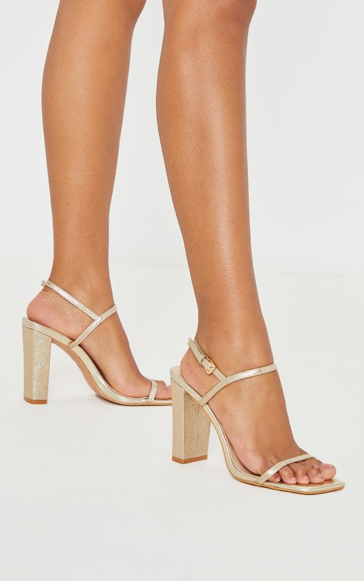 Gold Block Heel Twin Strap Slingback Sandal 2