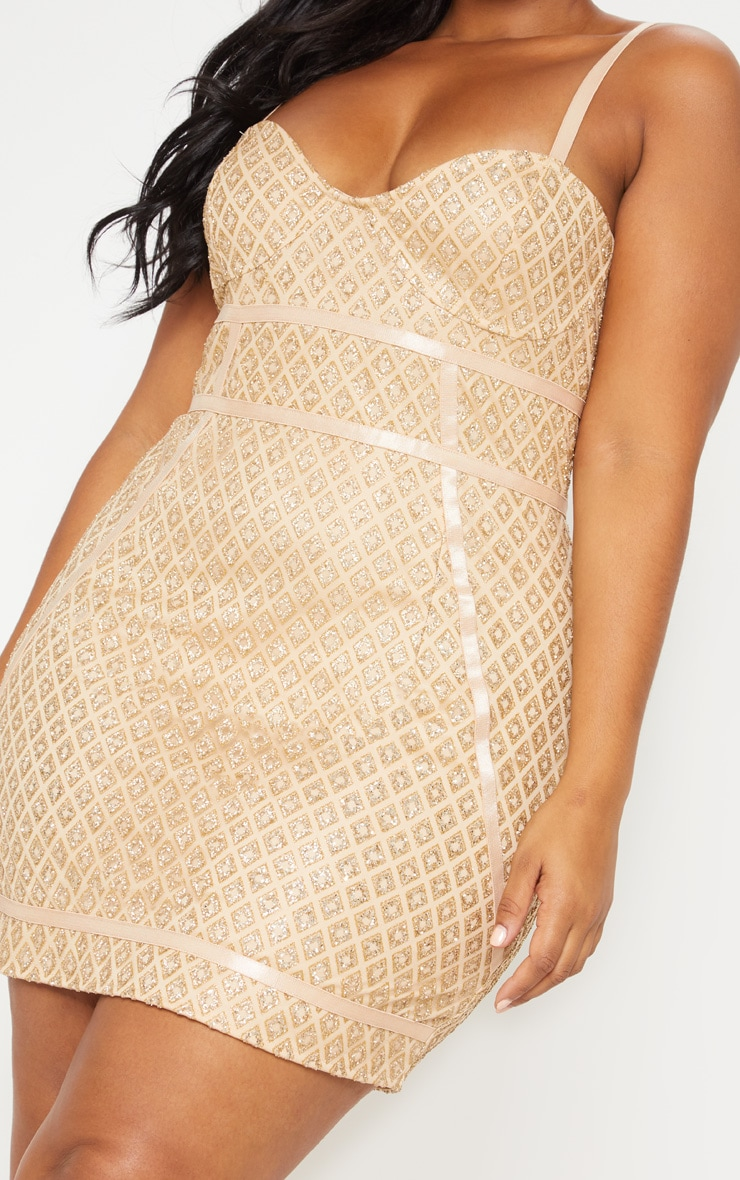 Gold Diamond Glitter Binding Detail Bodycon Dress 6