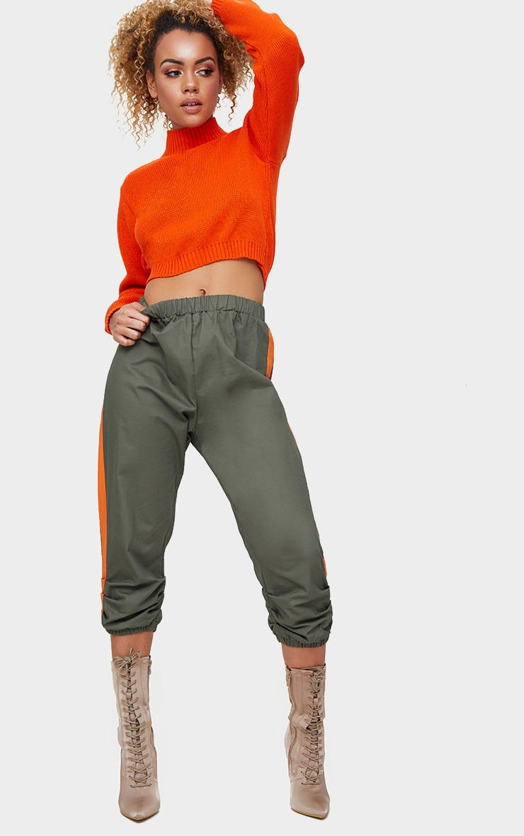 Orange High Neck Soft Knit Cropped Sweater 4