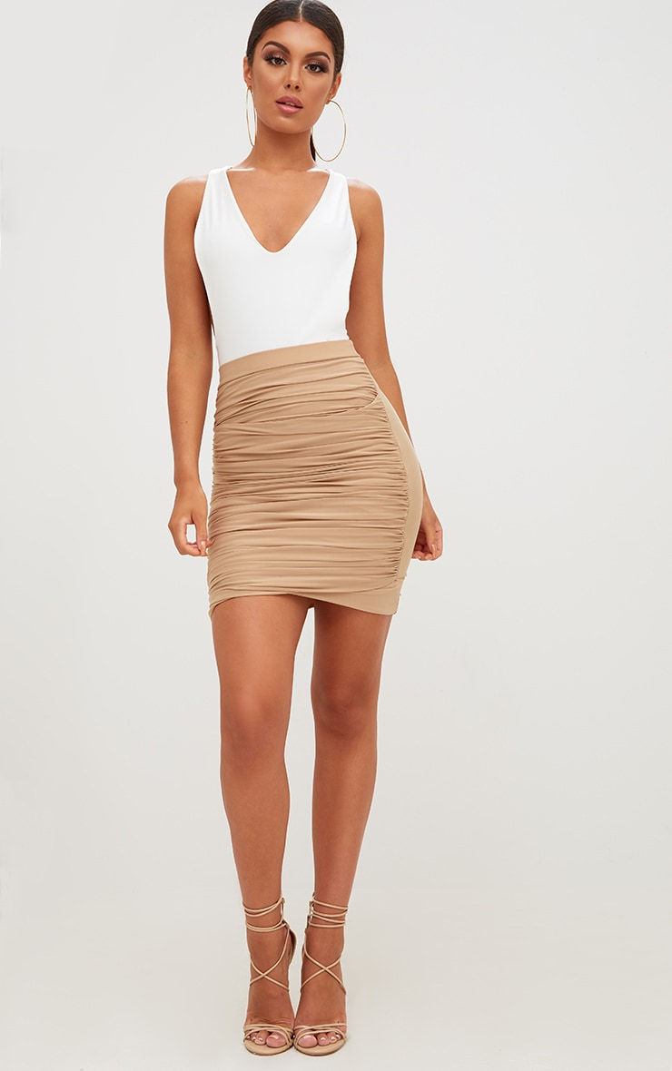 Sabina Stone Ruched Layered Slinky Mini Skirt 5