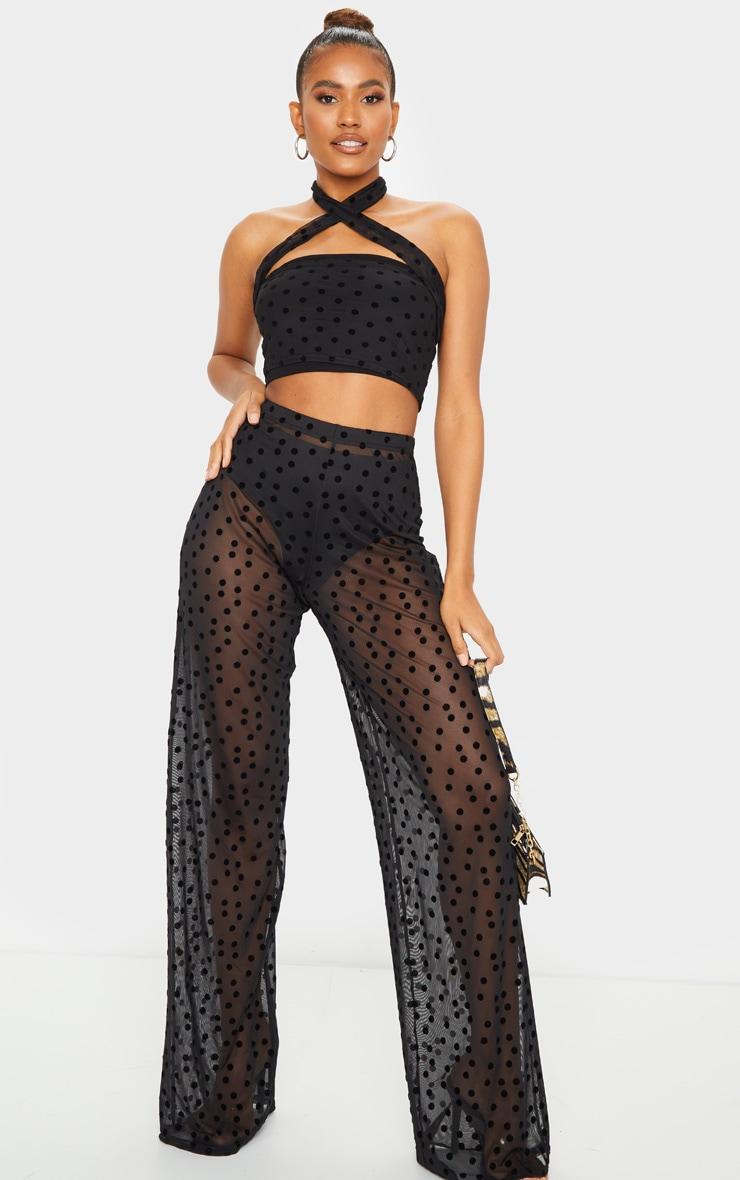 Pantalon ample taille haute noir en mesh imprimé pois 1