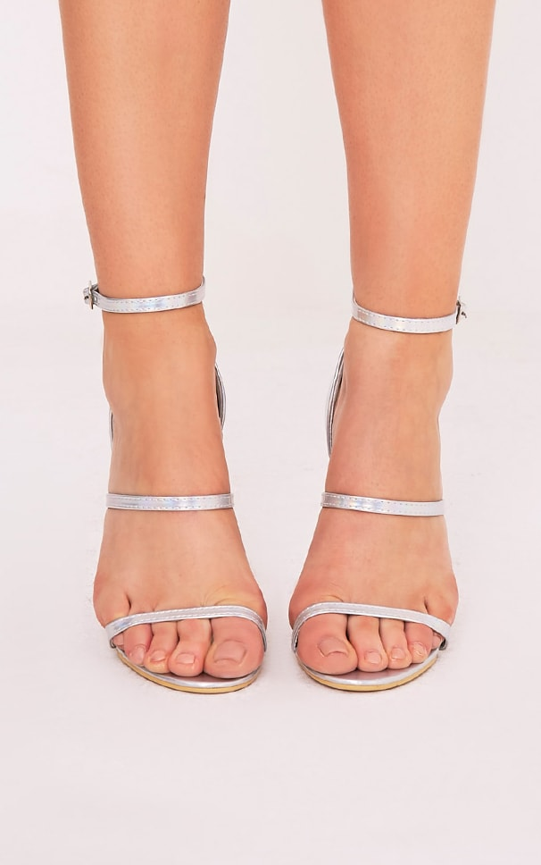 Amelia Silver Holographic Strappy Heeled Sandals 2