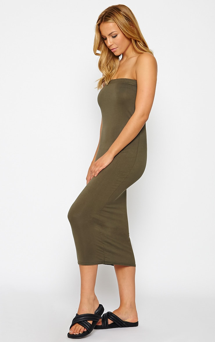 Basic Khaki Jersey Bandeau Midi Dress 3