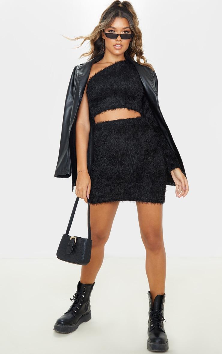 Black Eyelash Bodycon Mini Skirt