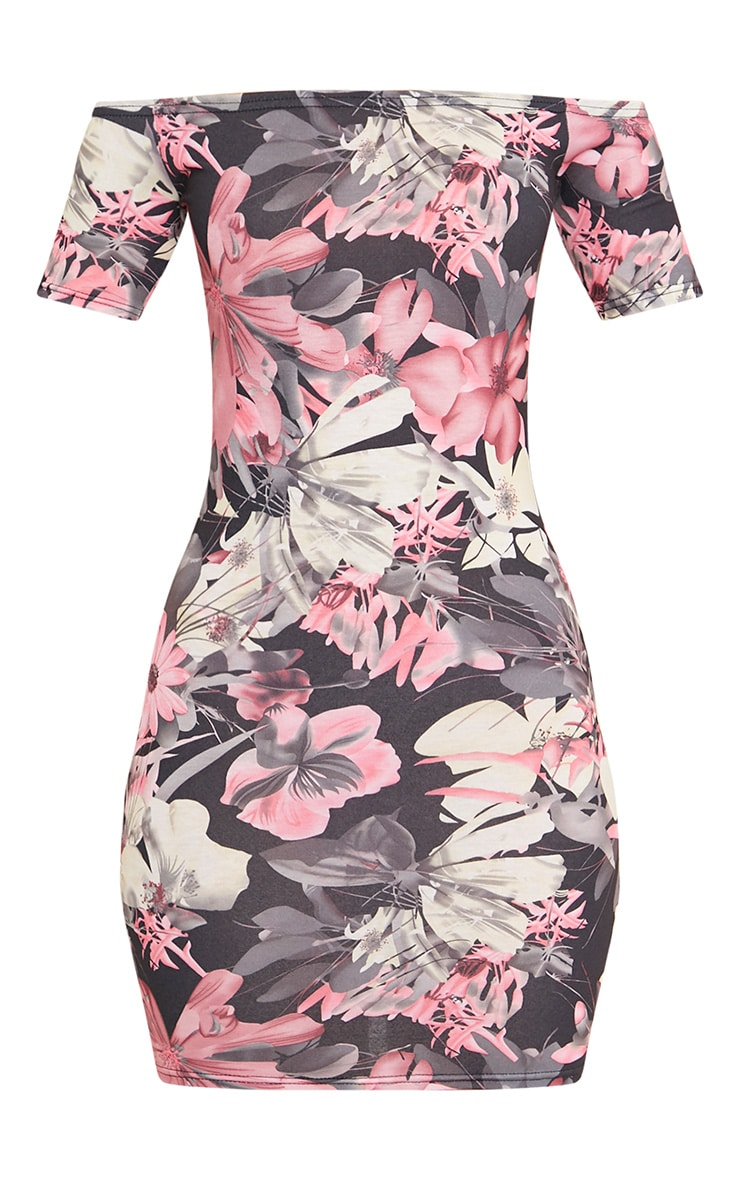 Kendah Pink Floral Bardot Cap Sleeve Bodycon Dress 3