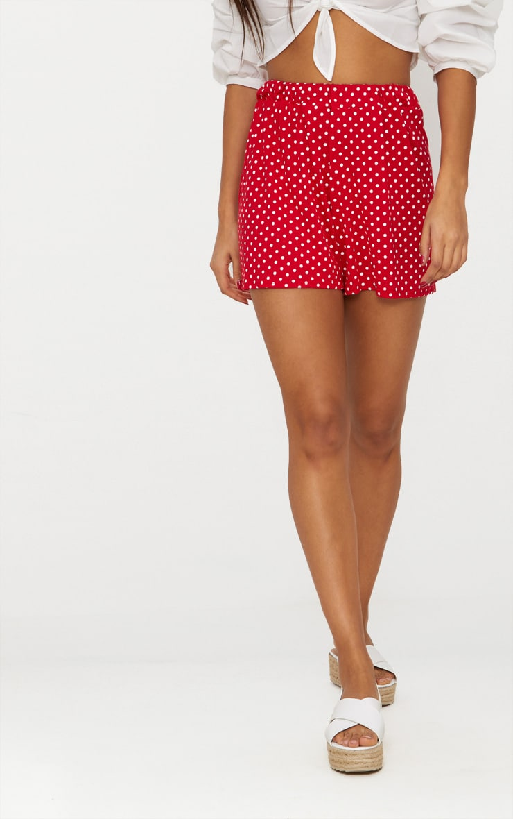 Red Jersey Floaty Polka Dot Short 2