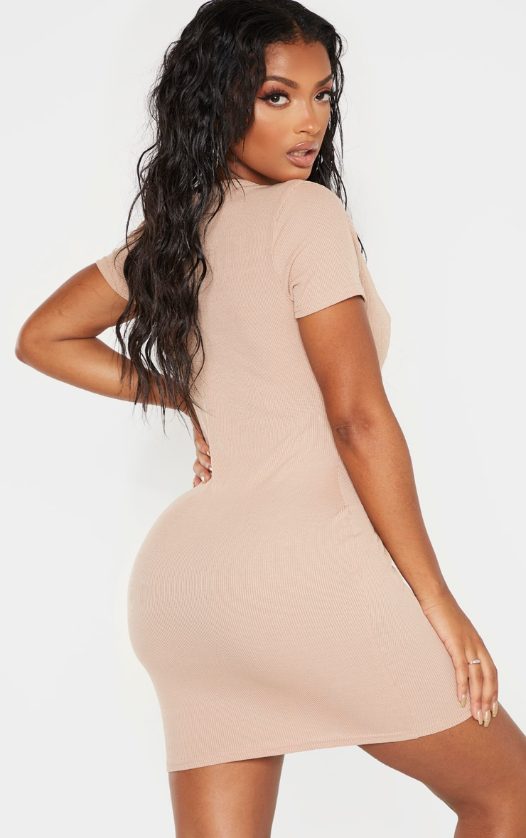 Shape Stone Ribbed Button Front Bodycon Dress 2